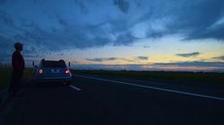 Sky blue convertible